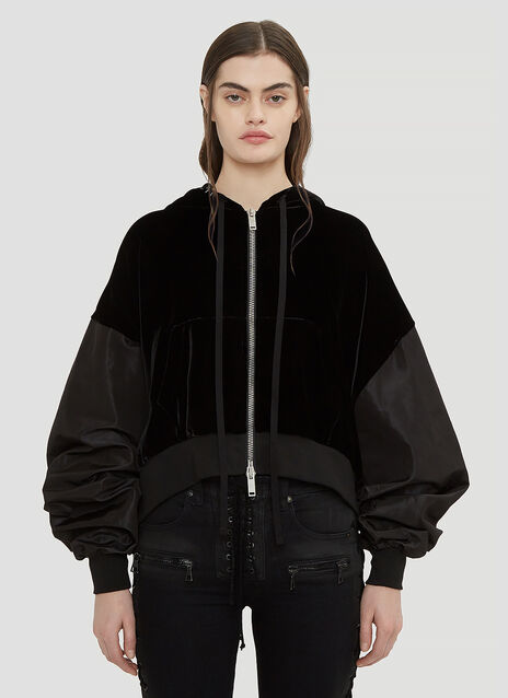 Unravel Project Hooded Cropped Velvet Sweater