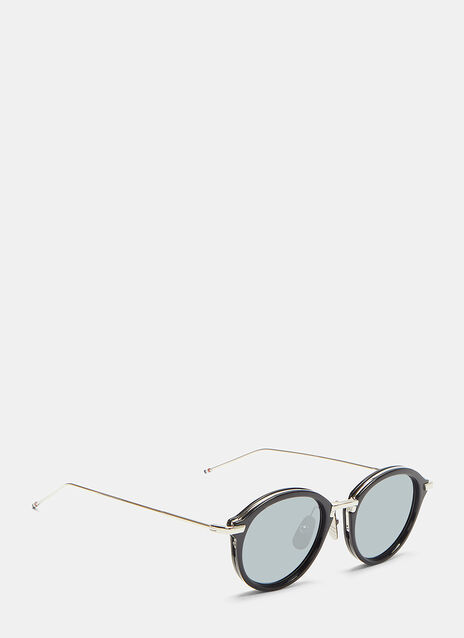 Thom Browne Silver-Rimmed Oval Frame Mirrored Sunglasses