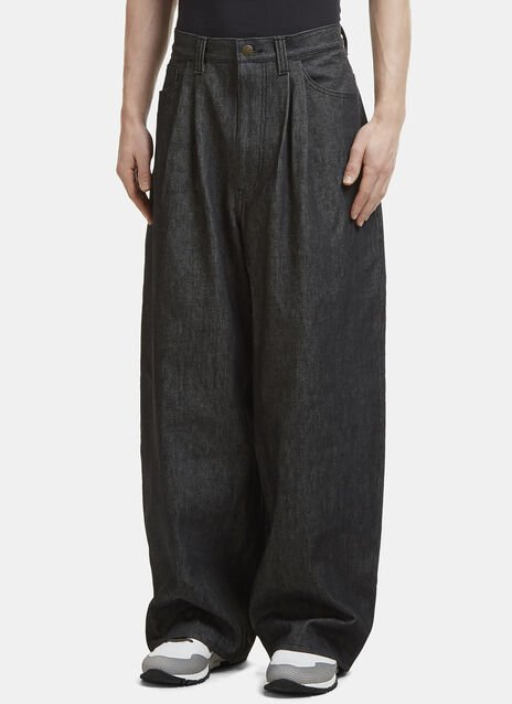 Facetasm Pleated Wide Leg Jeans