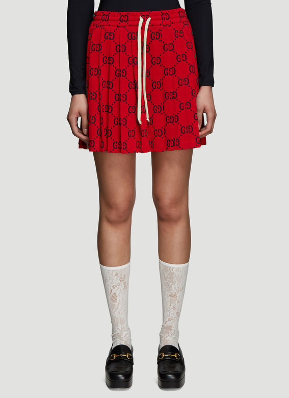 00f712c784f89 Gucci GG Jersey Pleated Shorts in Red | LN-CC