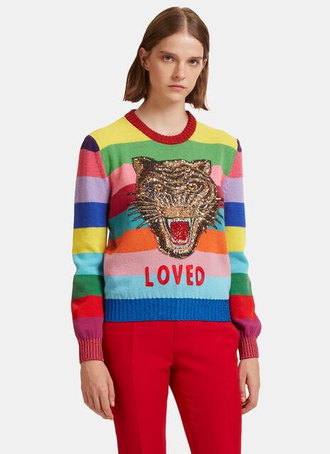 Gucci Tiger Embroidered Rainbow Wool Sweater