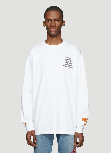 Heron Preston Long Sleeve Worker Print T-Shirt
