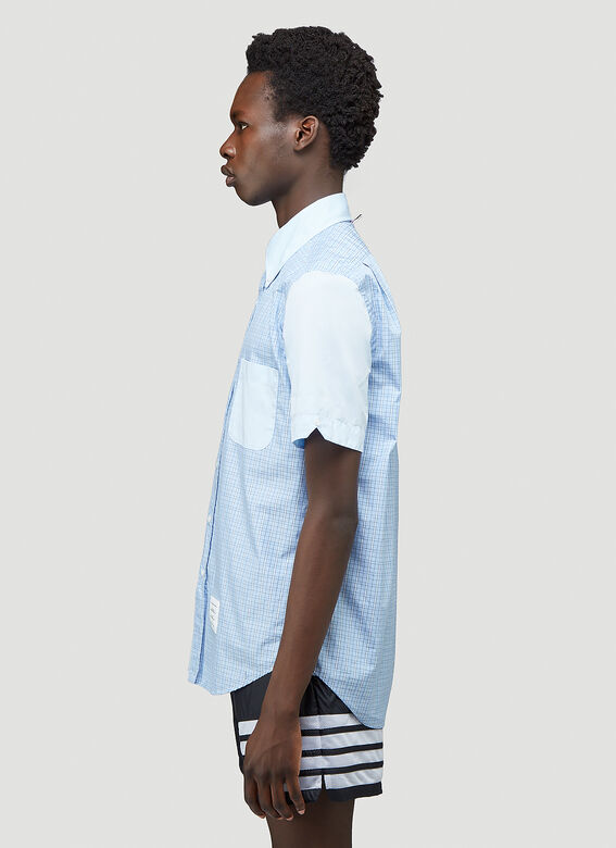 Thom Browne STRAIGHT FIT BUTTON DOWN SHORT SLEEVE SHIRT FUNMIX IN SMALL HAIRLINE CHECK POPLIN 3