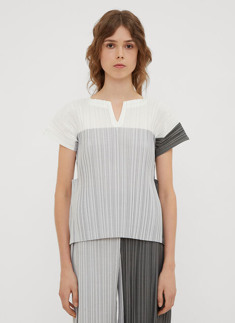 Issey Miyake Stair Pleats Cut-Out Top