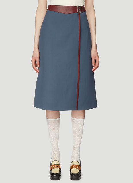 d58d73db731 Gucci Leather Trimmed Wrap Skirt