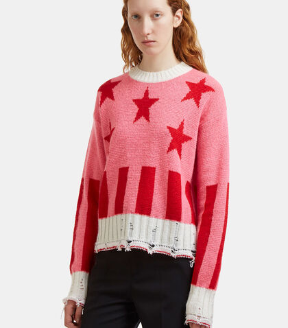 Destroyed Star Block Intarsia Knit Sweater