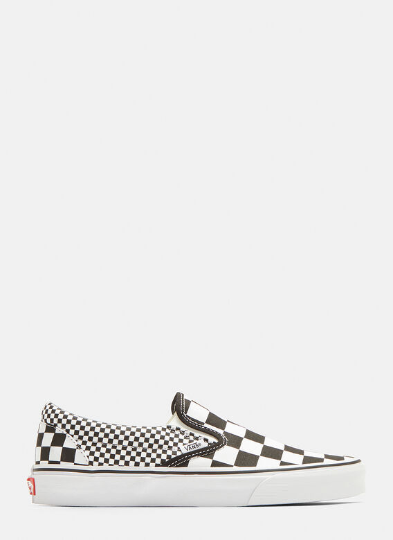 Classic Slip On Mix Checkerboard Sneakers In Black And White by Vans
