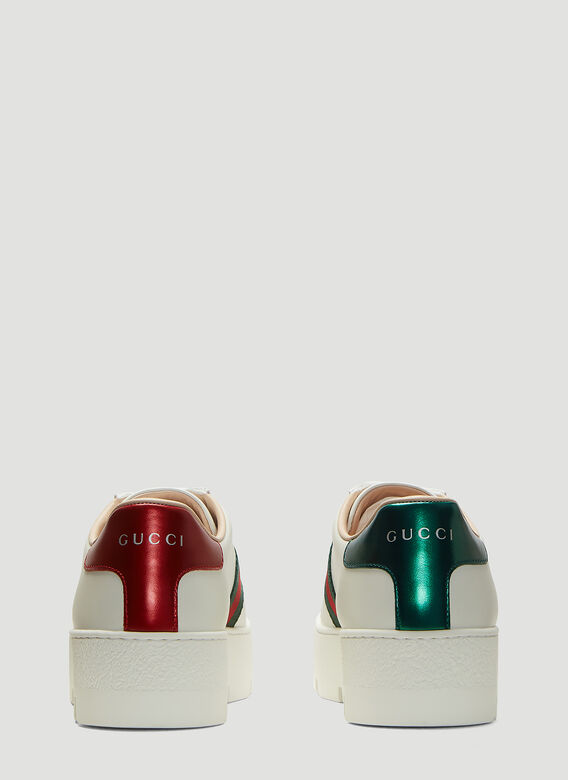 Gucci Ace Embroidered Leather Platform Sneakers 4
