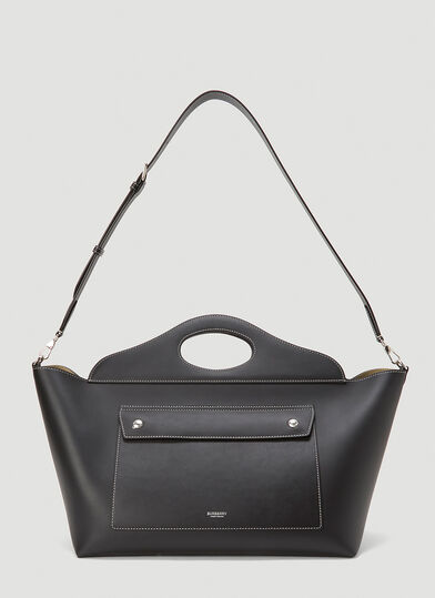 버버리 Burberry Soft Pocket Medium Tote Bag in Black