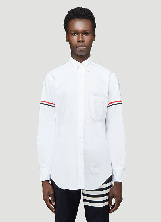 Thom Browne CLASSIC LONG SLEEVE BUTTON DOWN POINT COLLAR SHIRT W/ GG ARMBAND IN OXFORD 1