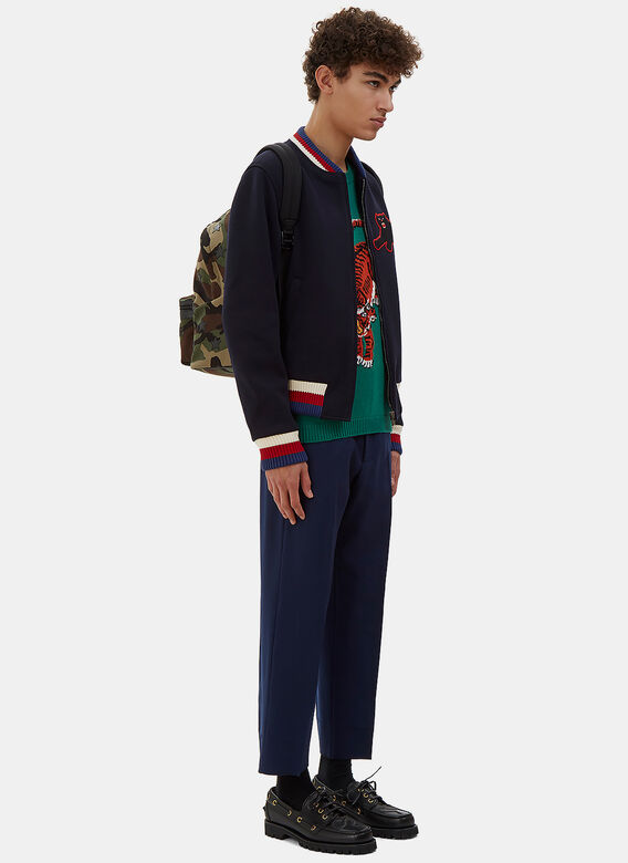 Gucci Embroidered Panther Patch Bomber Jacket