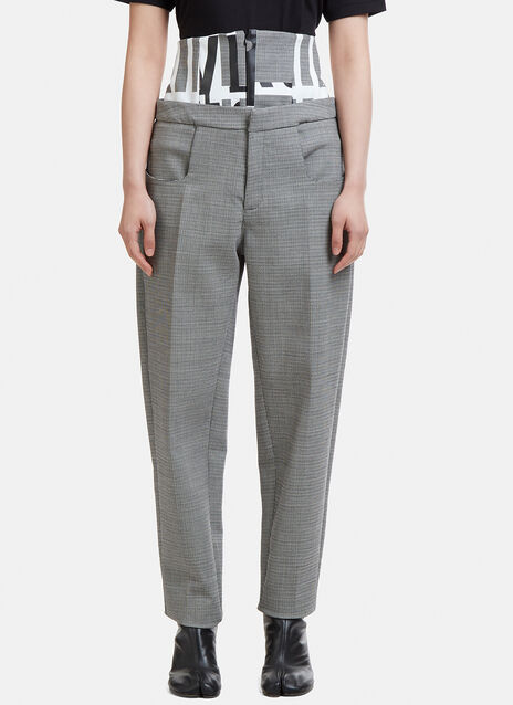 Capara Layered Hounds Tooth Tapered Pants 8
