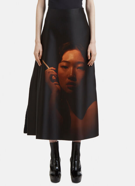 Yang Li Fetish Smoking Print Skirt
