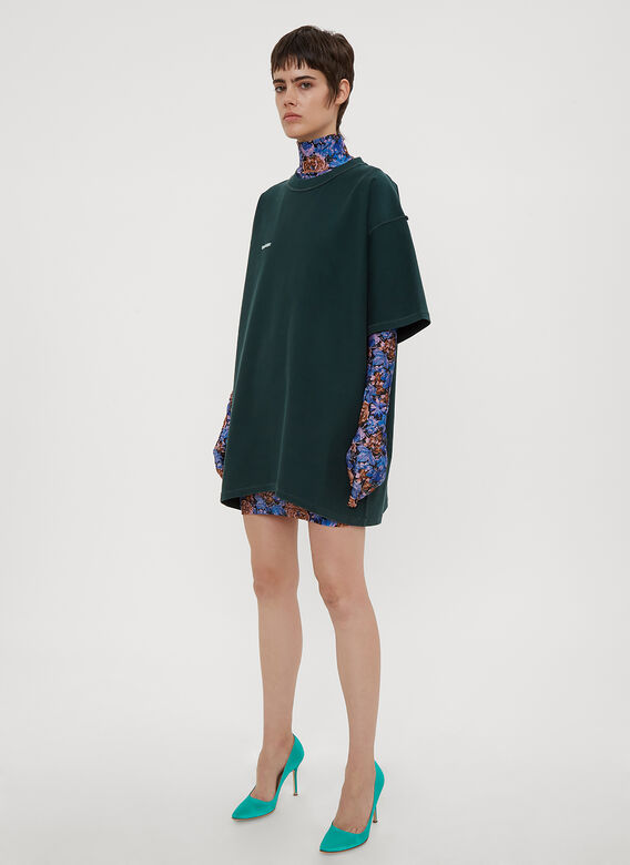 Vetements Floral Print Glove Sleeve Dress