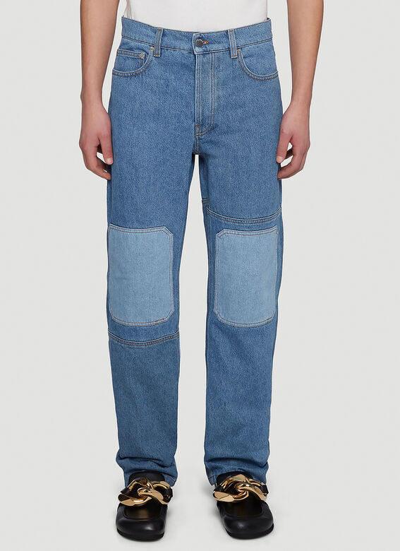 Jw Anderson Patchwork Straight-Leg Jeans in Blue