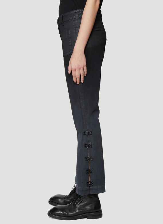 Olivier Theyskens FLARED BOTTOM JEANS WITH HOOK AND EYE DETAIL 3