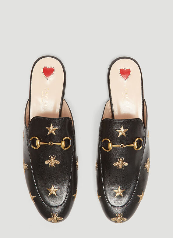 a6928c7e456 Gucci Princetown Bee   Star Embroidered Leather Backless Mules