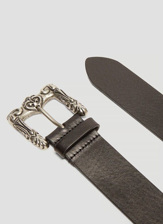 Saint Laurent Distressed Carved Belt