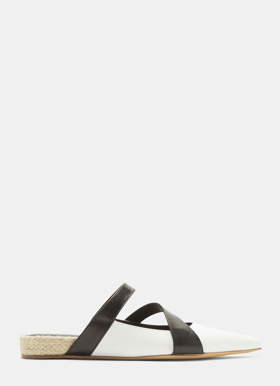 bcd85b75a JW Anderson Double Strap Pointed Slippers in Black | LN-CC