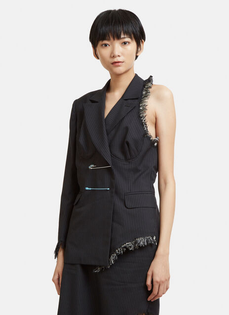 Facetasm Cut-Out Pinstripe Blazer