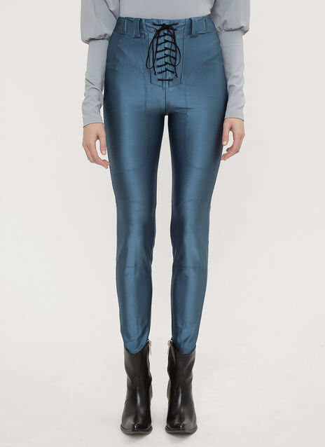 Unravel Project Lace-Up Seam Skinny-Fit Pants