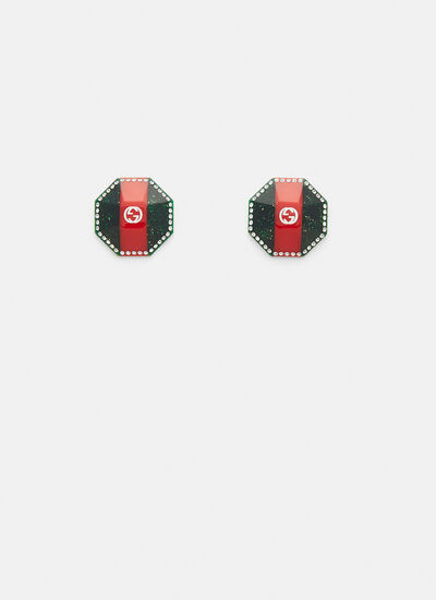 Gucci Faceted Web Crystal Earrings