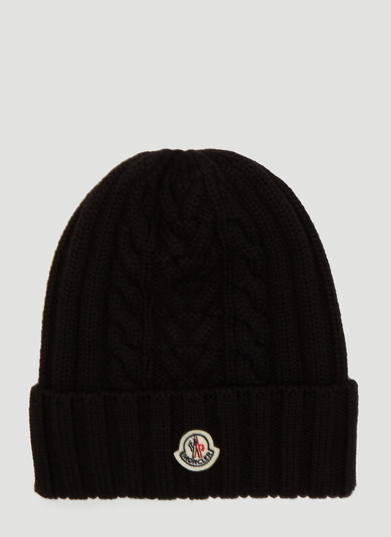 Moncler Hats Cable-Knit Beanie Hat in Black