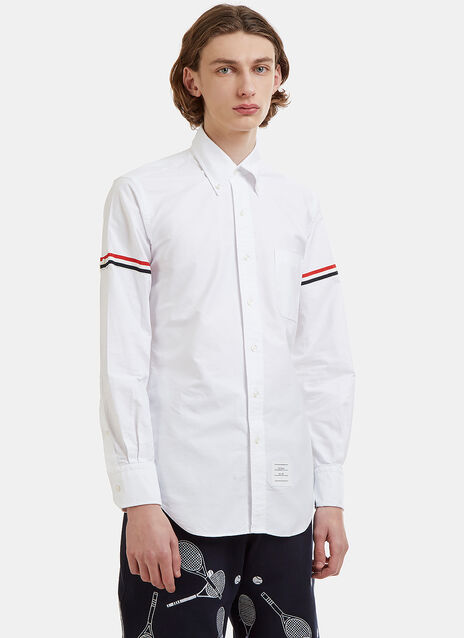 Thom Browne Striped Web Armband Oxford Shirt