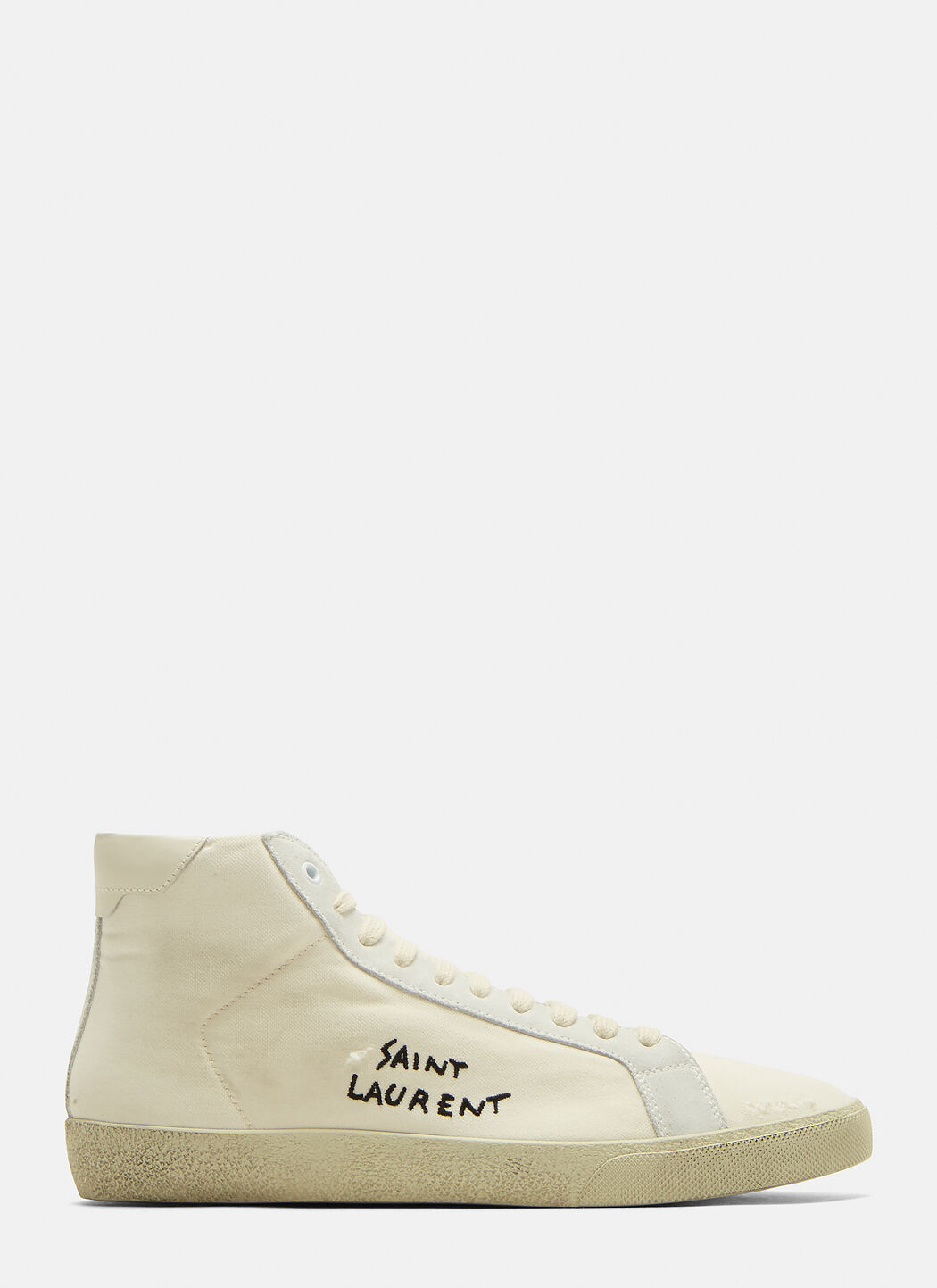 Saint Laurent Basket High Top Logo Sneakers in White | LN CC