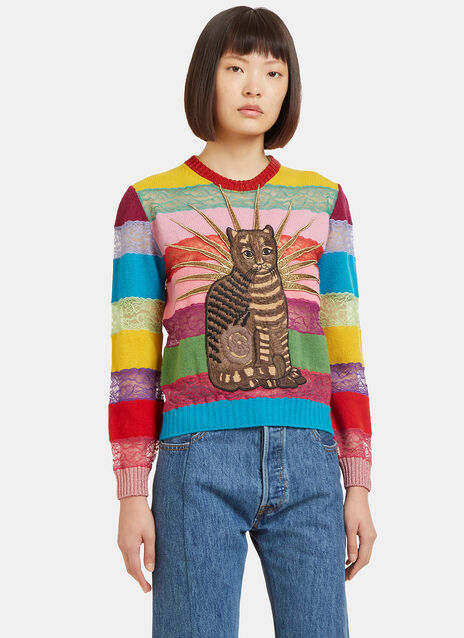Embroidered Cat Lace Striped Sweater