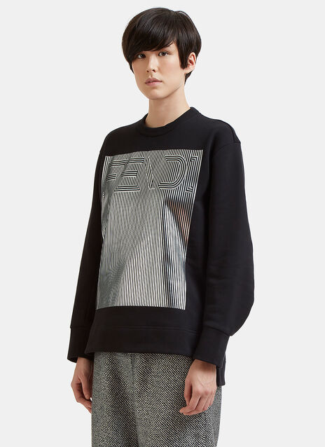 Metallic Stripe Logo Sweater