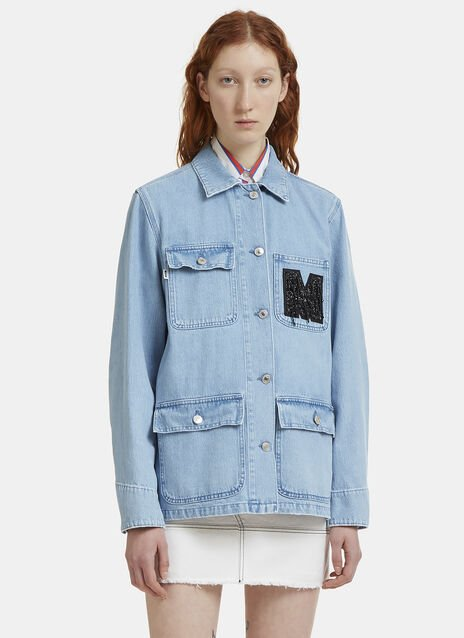 MSGM Embroidered Logo Denim Jacket
