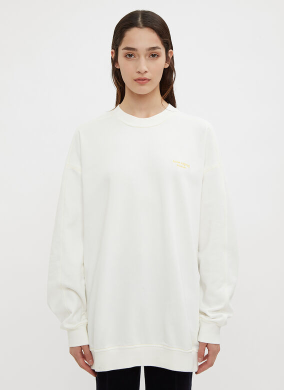 Acne Studios Oversized Crew Neck Embroidered Sweater