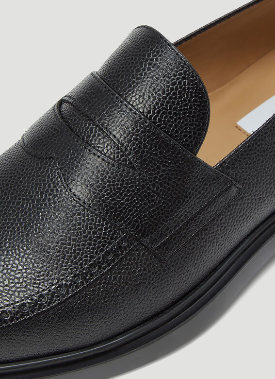 Thom Browne PENNY LOAFER W/ TONAL LIGHTWEIGHT RUBBER SOLE IN PEBBLE GRAIN 5