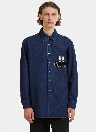 Raf Simons RS Leather Patch Denim Shirt