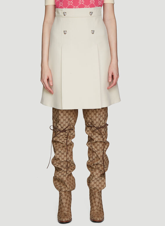 Gucci A LINE CADY SKIRT IN CREPE WITHOUT GARDENIA