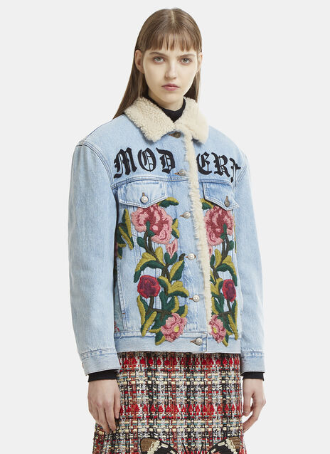Gucci Oversized Aged Jacquard Denim Jacket