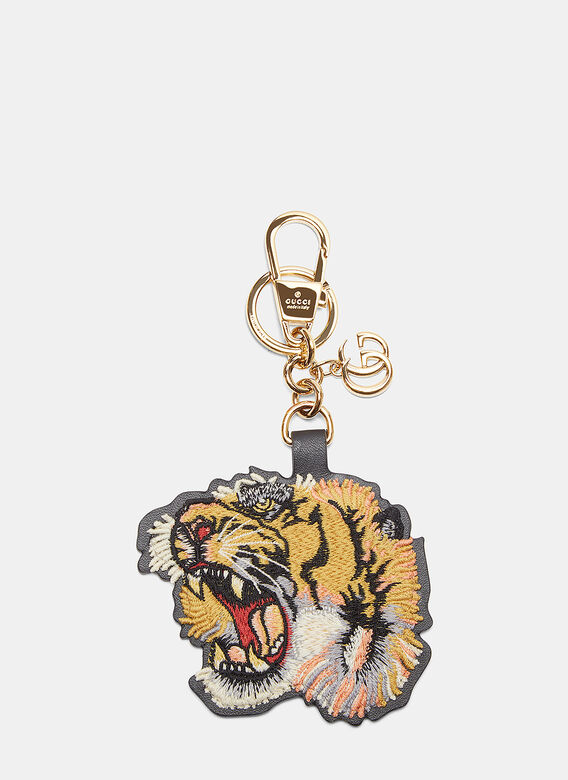 c61ba454688 Gucci. Embroidered Tiger Key Chain in Yellow
