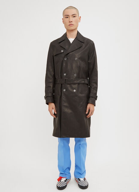 Off-White Logo Back Leather Trench