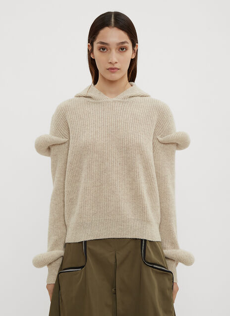 JW Anderson Hooded Sleeve Puff Knit Sweater