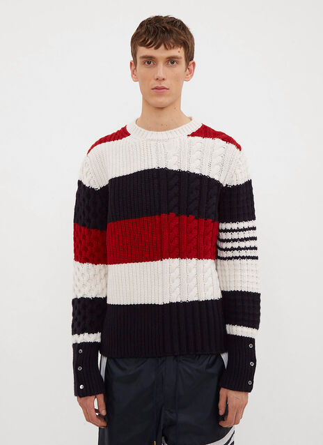 Thom Browne Rugby Stripe Cable Knit Sweater