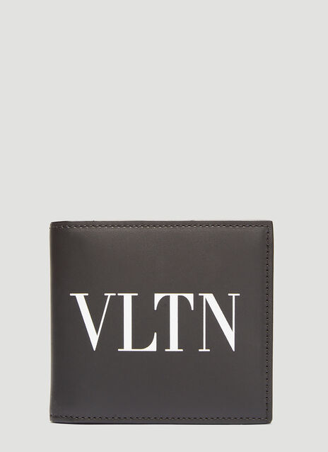 Valentino VLTN Logo Print Bi-Fold Leather Wallet