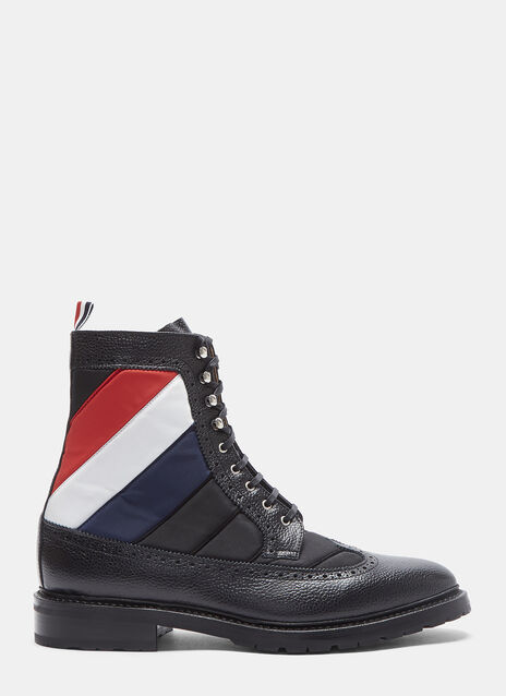 Quilted Nylon Longwing Pebble Grained Brogue Boots