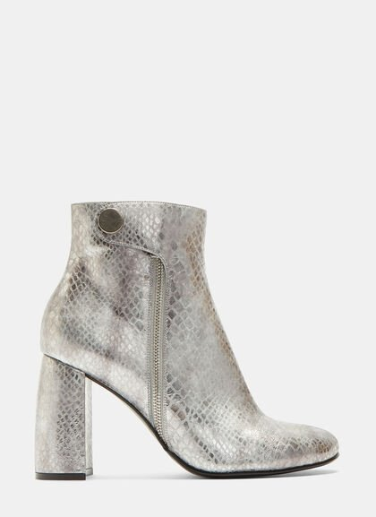 Image of Metallic Snake Print Ankle Boots