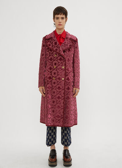 Gucci Logo Bee Jacquard Double Breasted Coat