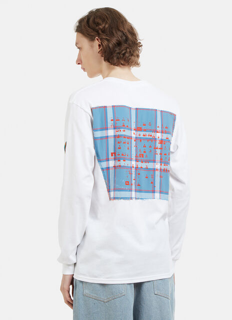 Berlin Community Radio The Long Sleeve Large Check Patchwork Back T-Shirt
