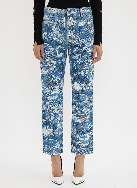 Off-White Crop Tapestry Denim Jeans