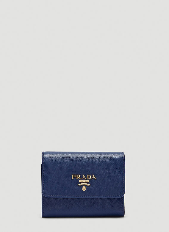 Prada Saffiano Leather Fold-over Snap Stud Wallet