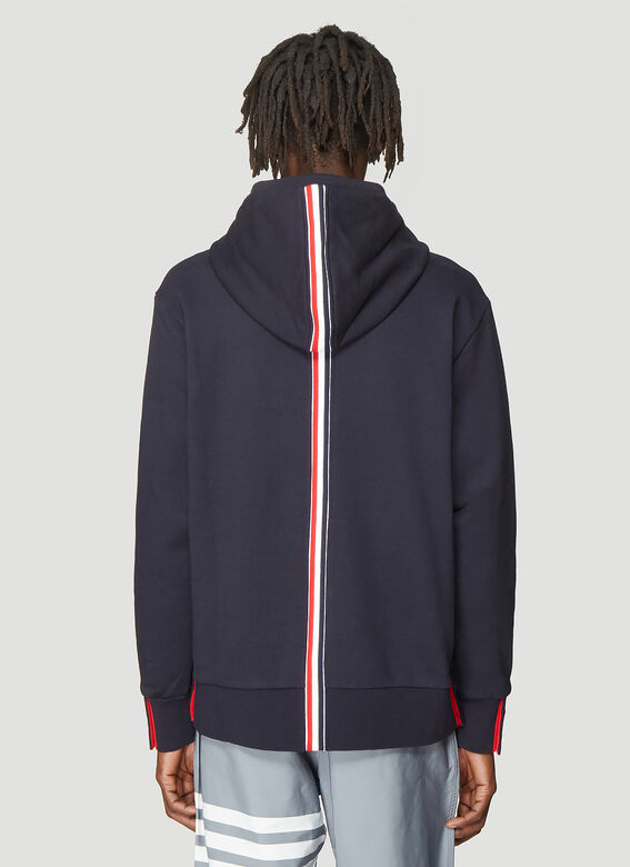 Thom Browne HOODIE ZIP-UP PULLOVER IN CLASSIC LOOPBACK WITH CENTER-BACK RWB STRIPE 4