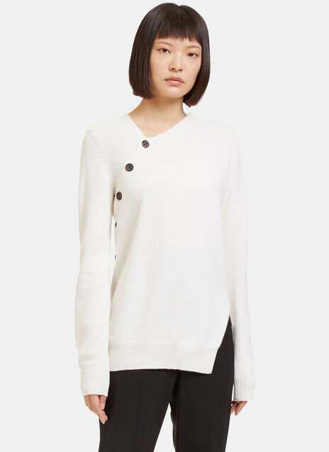Asymmetric Buttoned Cashmere Knit Sweater